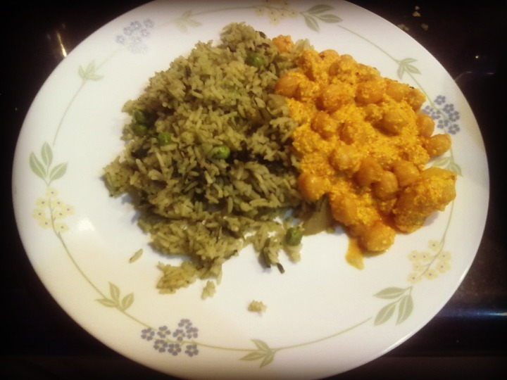 Spinach rice with Channa madra