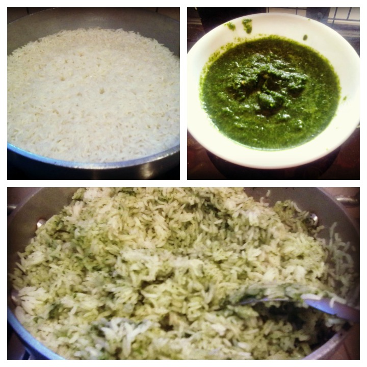 Mix the half cooked rice and the coriander mix