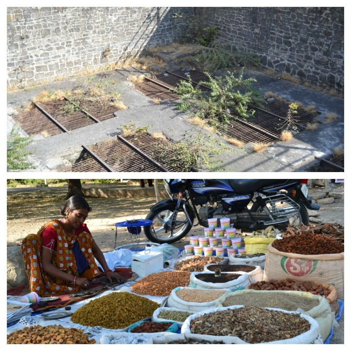 Uparkot Fort - The Granaries and  a vendor selling  aromatic spices