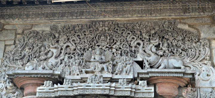 The carving of Garuda, over the entrance to the main temple