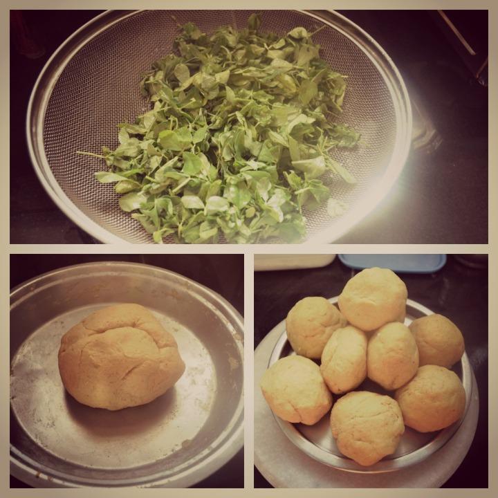 Fresh Fenugreek leaves; The prepared dough; Broken into small rolls