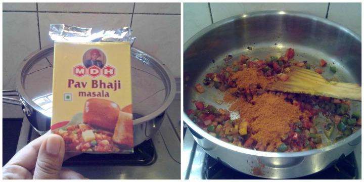 Add turmeric, pavbhaji masala & salt