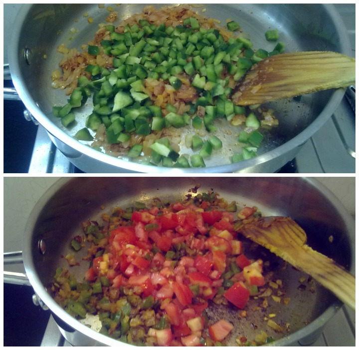 Add capsicum, cook till half -done; Add tomatoes
