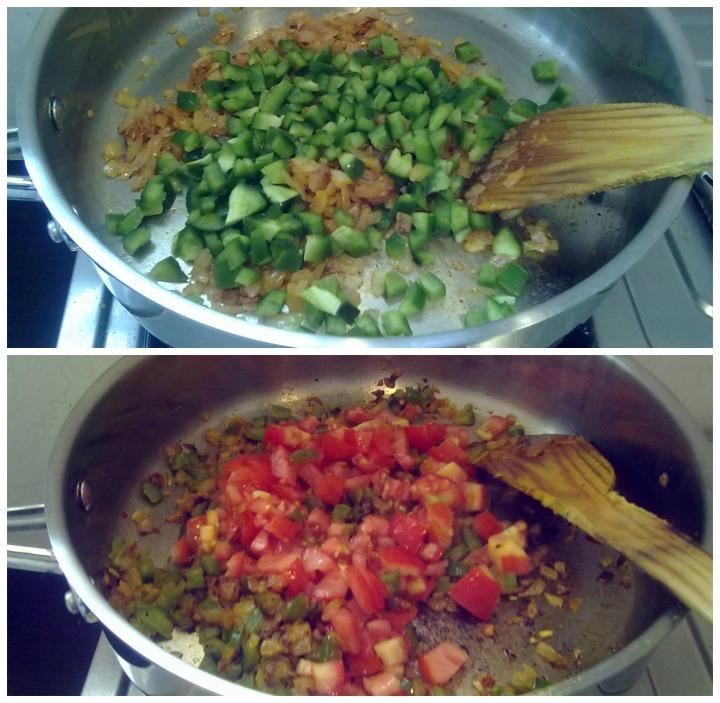 Add capsicum, cook till half -done; Add tomatoes