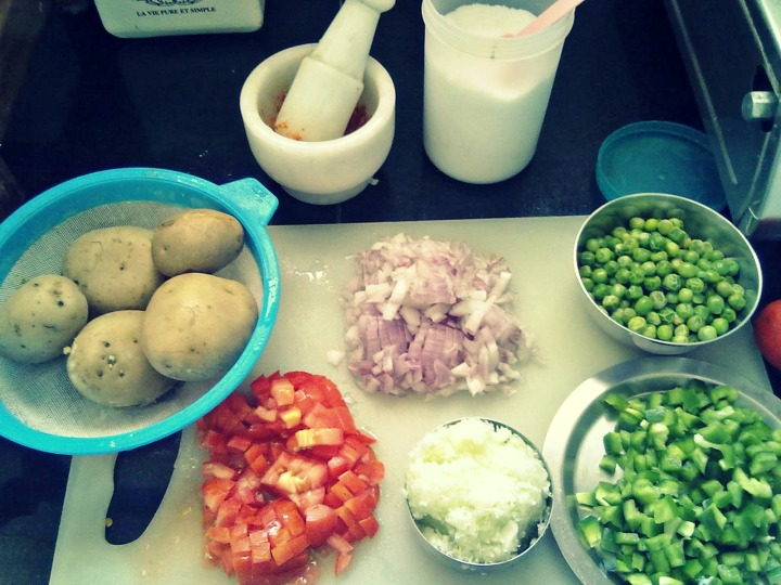 Ingredients for the bhaji